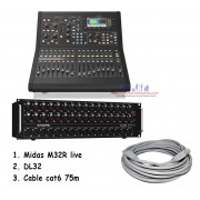 Midas M32R LIVE Digital Mixer + Paket DL32 + Cable Cat6 75m
