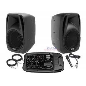 "Laney AH210 Audiohub Venue PA System with Two 10"" Speakers and Detachable 6-Channel Mixer, Mic and Cables 10"" Mains"